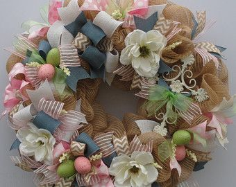 Religious Easter Wreath Shabby Chic Cross Rustic