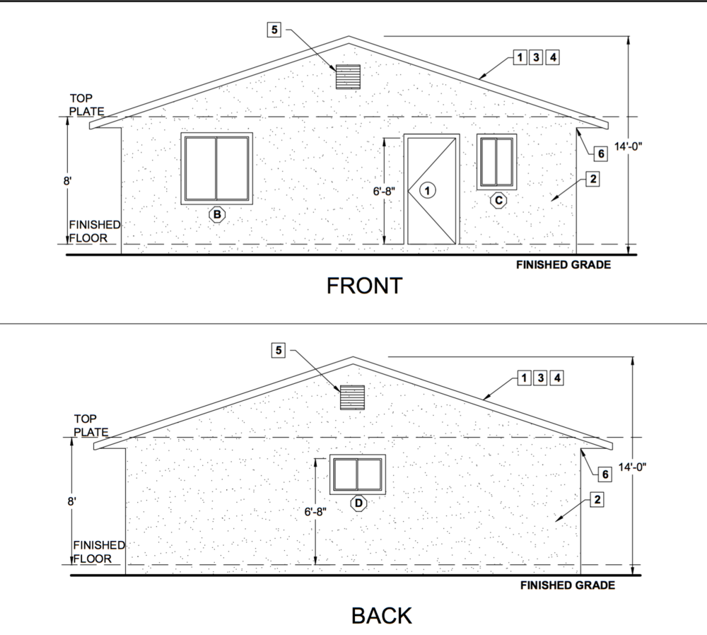 Adu Front And Back Elevations Floor Plans Accessory Dwelling Unit Architect