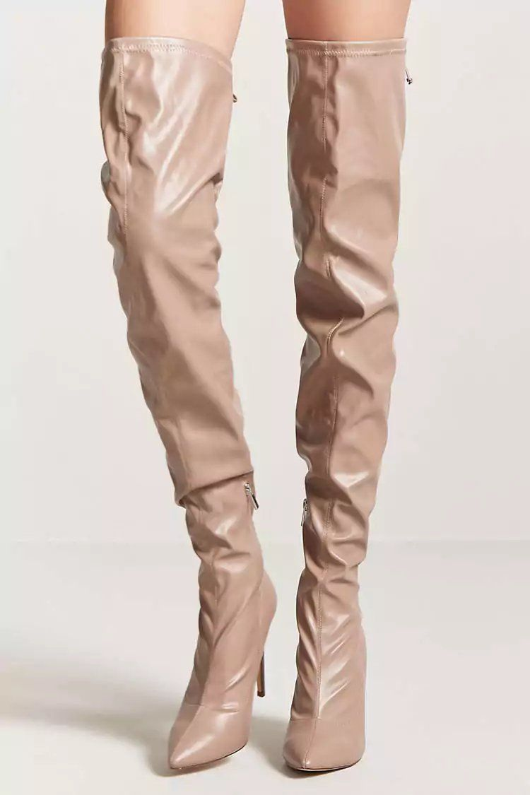 Product Name:Faux Leather Over the Knee Boots, Category