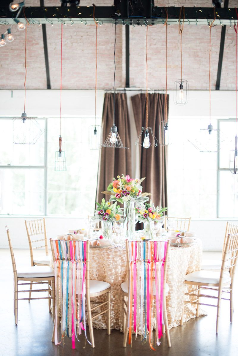 Industrial light fixtures + pretty pops of color www.theperfectpalette.com - Styled by Each & Every Detail, Cottonwood Road Photography