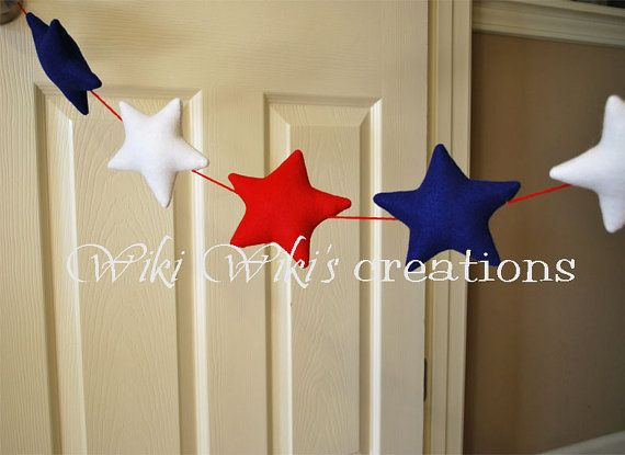 Plush Star Garland Pick your color by WikiWikisCreations on Etsy, $42.00