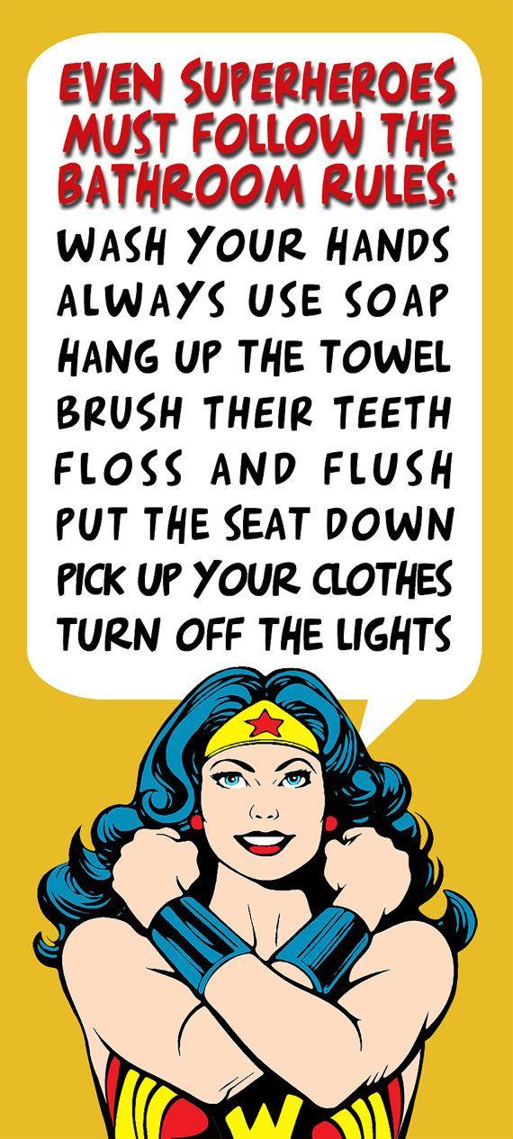 Bathroom Decor Superhero Wonder Woman Bathroom Rules by Woofworld