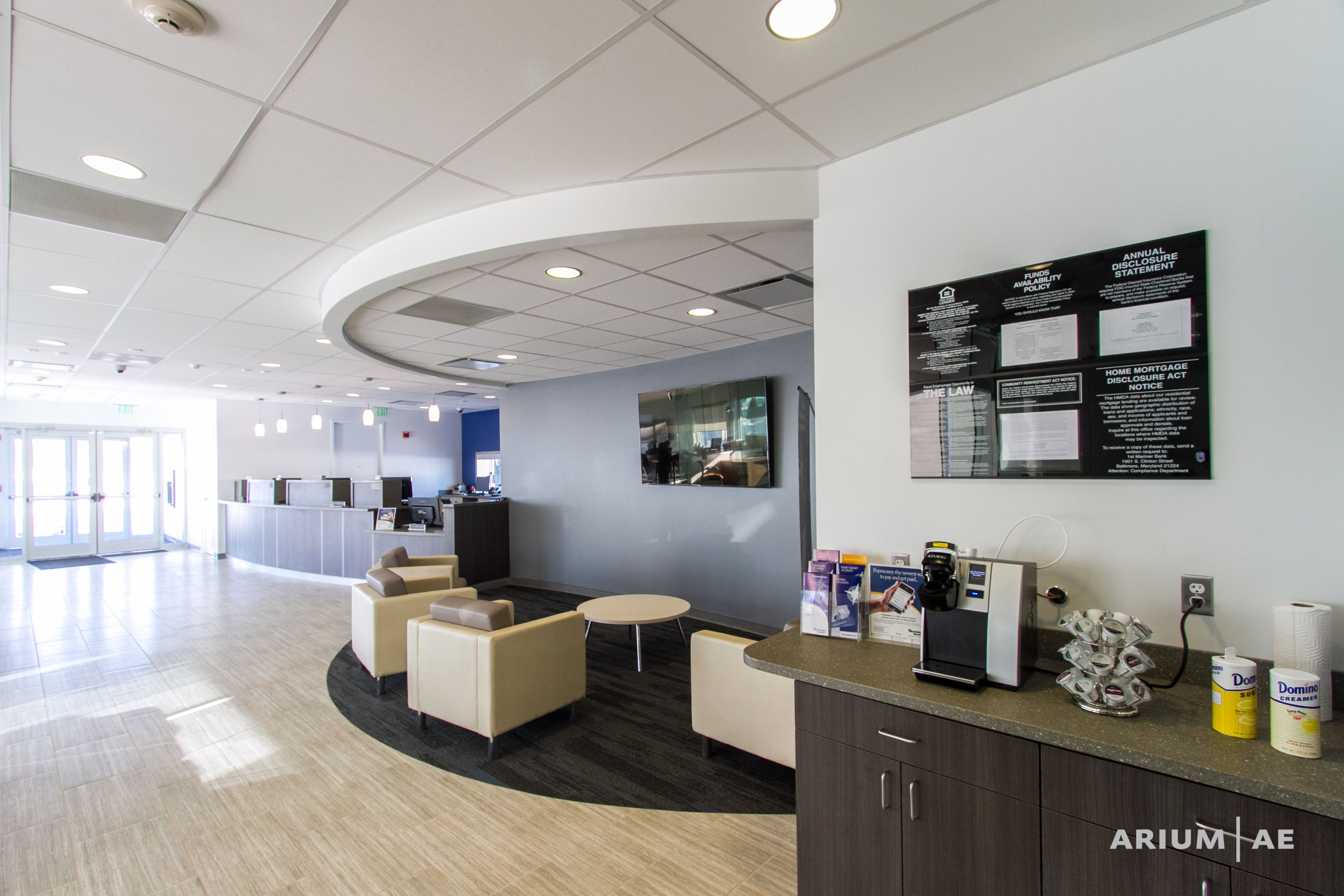 Interior Bank Design Glass Walls Teller Area Waiting Area Coffee Counter Ariumae Design