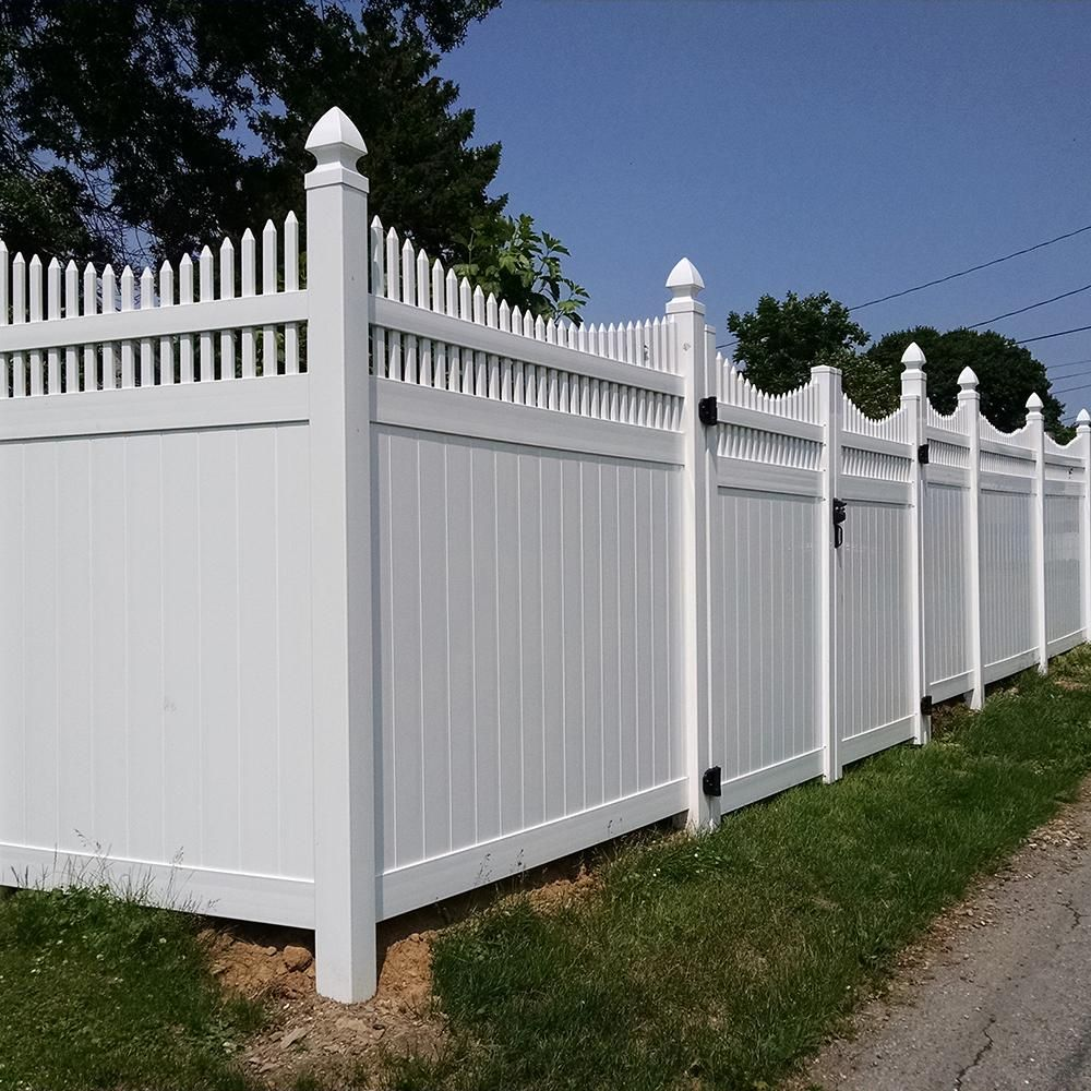 Weatherables Halifax 6 Ft H X 8 Ft W White Vinyl Privacy Fence Panel Kit Pwpr Ots 6x8 The Home Depot Vinyl Privacy Fence Privacy Fence Panels Fence Panels