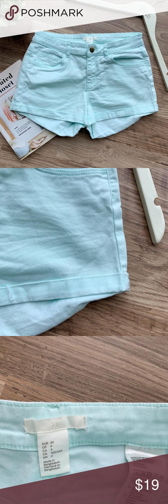 H&M Light Blue Denim Shorts H&M Light Blue Denim Shorts.  Short shorts.  Excellent condition.  Light blue green color.    No trades, offers welcome! H&M Shorts #lightblueshorts