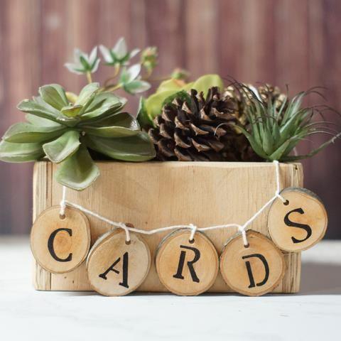 Log Slice Wedding Cards Table Sign, Log Slice Tag-Wedding-Default Title-GFT Woodcraft
