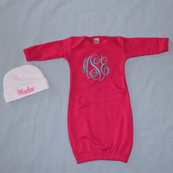 Pink Monogrammed Baby Gown and Beanie - Custom Name - Newborn - Baby ...