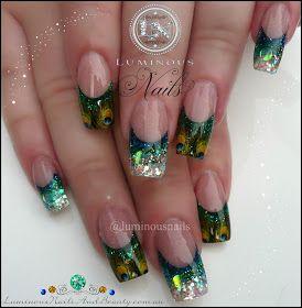 Luminous Nails: Glittery Peacock Nails...