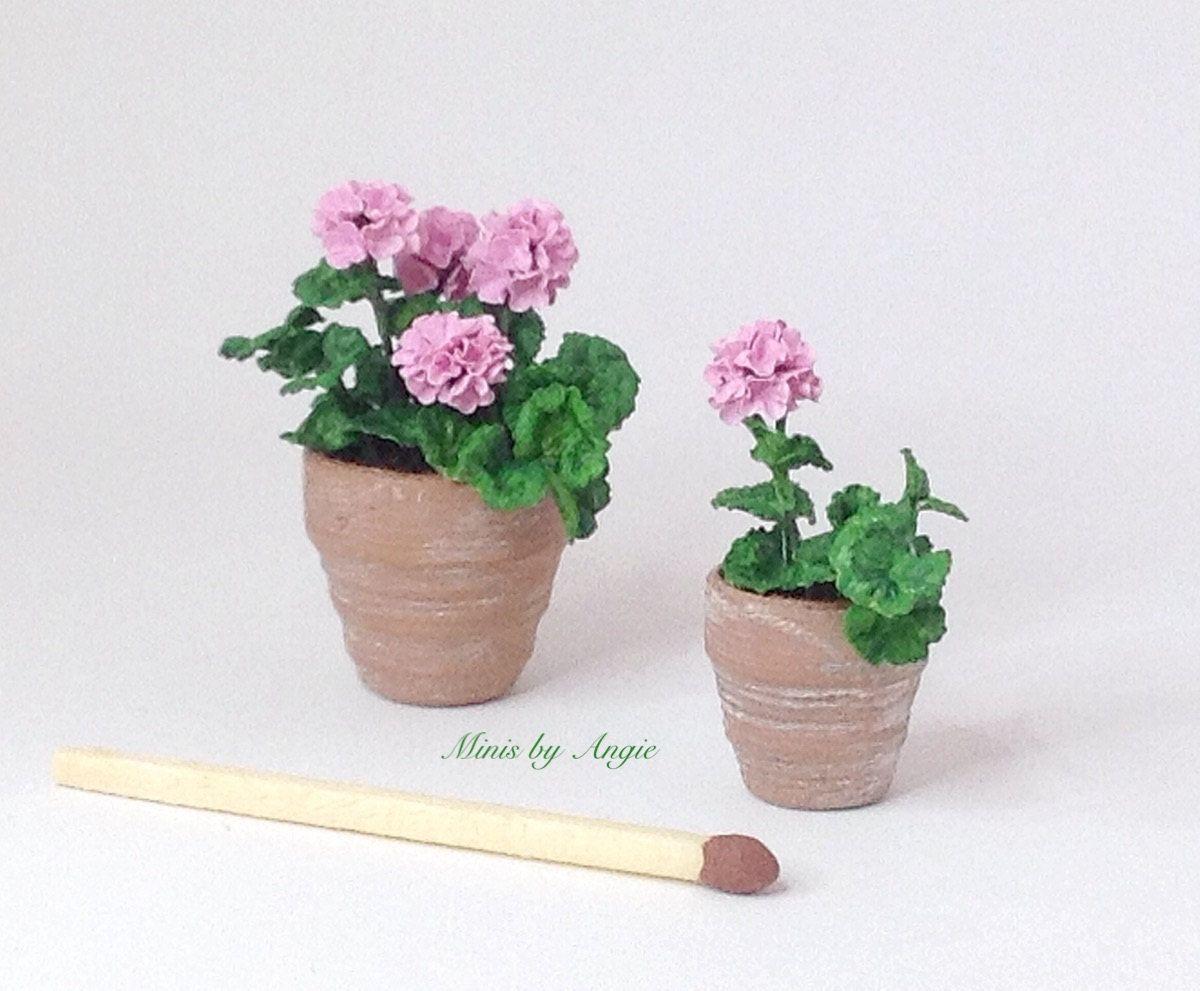Violet Geranium Miniature Flower Handmade Clay Plant Dollhouse Garden Accessory