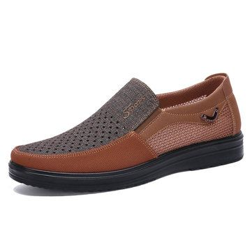 men genuine leather nonslip splicing large size soft sole