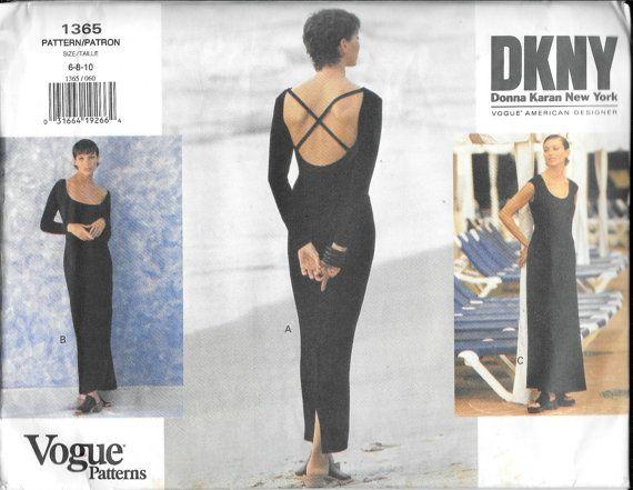 Vogue 1365 Donna Karan DKNY Evening Dress Backless Gown Sewing ...