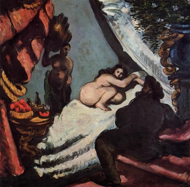 A Modern Olympia, 1870 by Paul Cezanne, Impressionist period. Romanticism. genre painting. Private Collection
