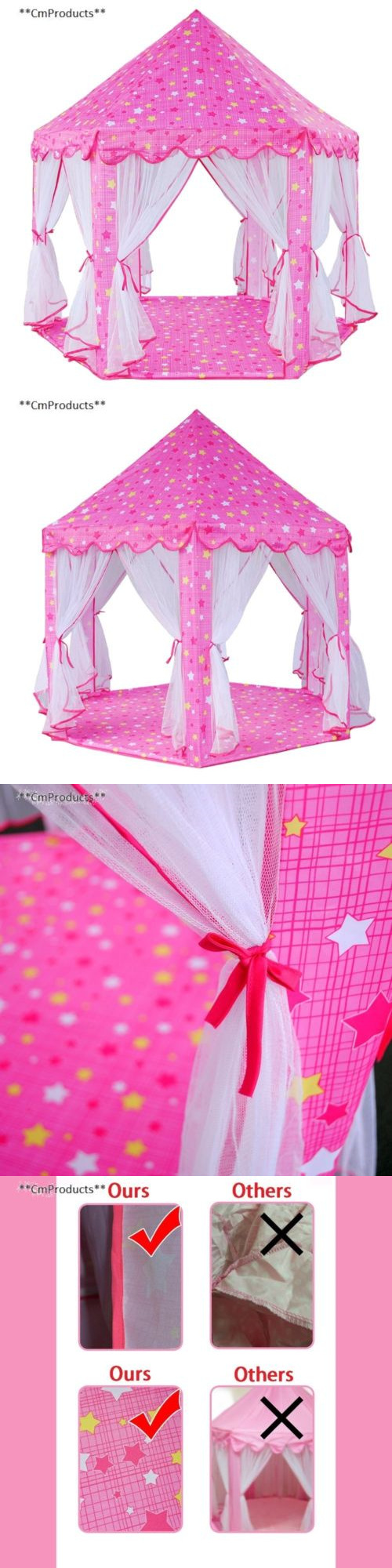 Play Tents 145997 Jacone Girls Pink Princess Castle Play Tent Indoor And Outdoor Diy Playhouse & Play Tents 145997: Jacone Girls Pink Princess Castle Play Tent ...