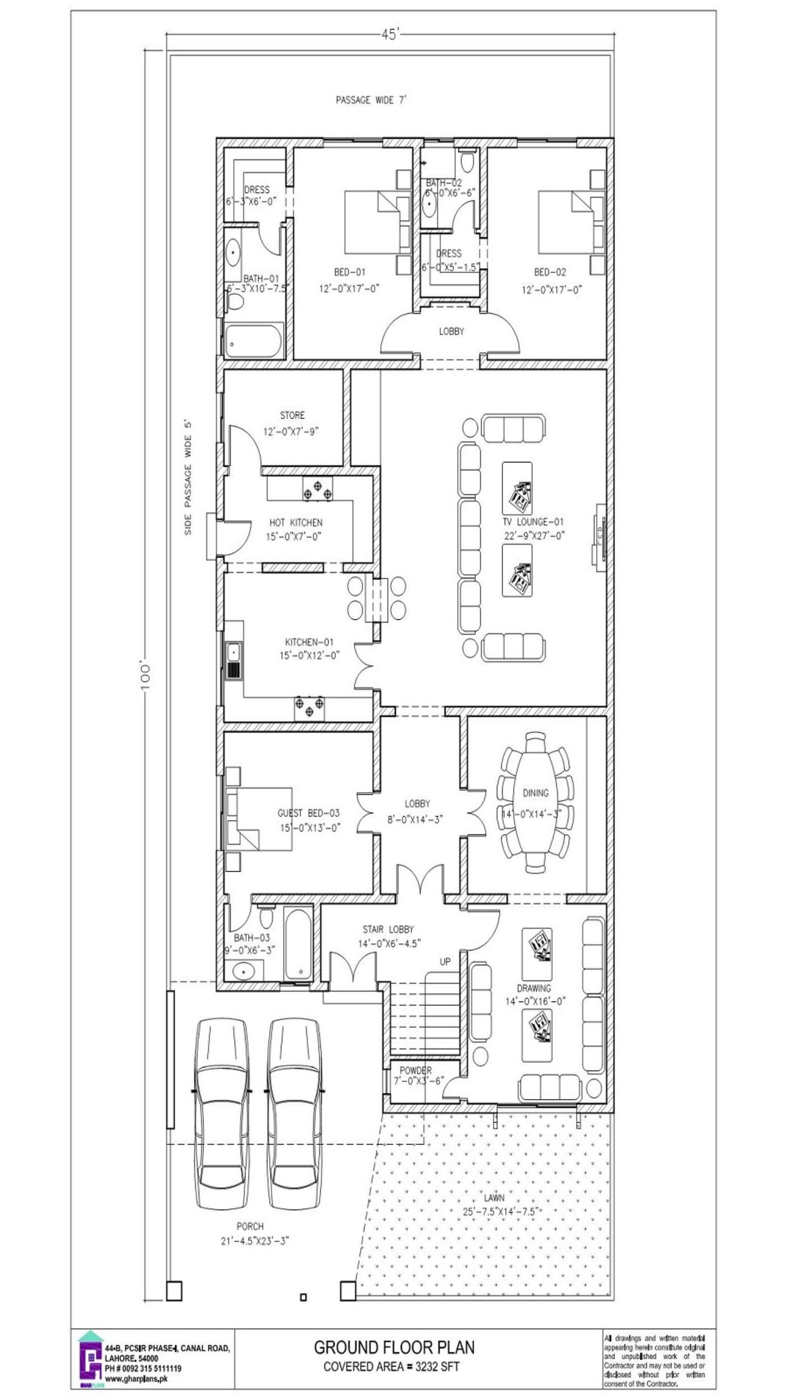 45 X 100 House Design Ground Floor Plan 4500 Square Feet Kitchen Design Plans House Design Free House Design
