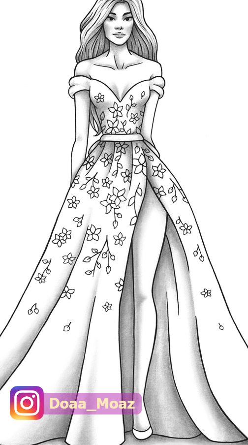 Adult Coloring Page Fashion And Clothes Colouring Sheet Model Grayscale Pdf Printable Girls Relaxing Zentangle Line Art In 2020 Dress Design Drawing Fashion Illustration Sketches Dresses Fashion Illustration Dresses