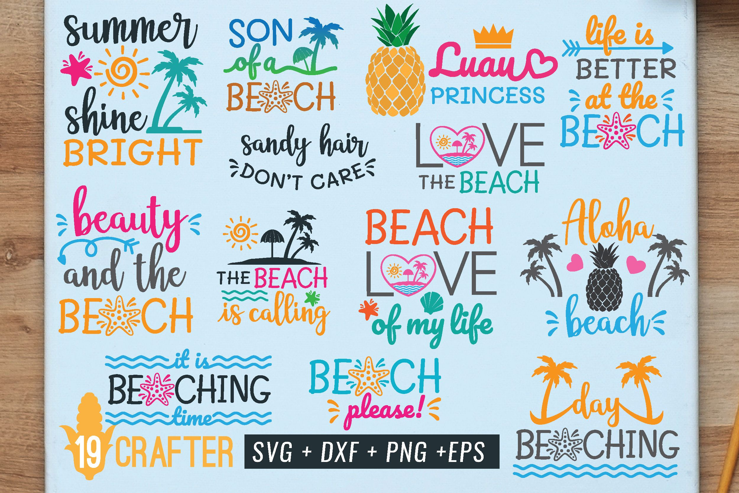 Summer In The Beach Bundle Graphic By Great19 Creative Fabrica Svg Free Summer Freebie