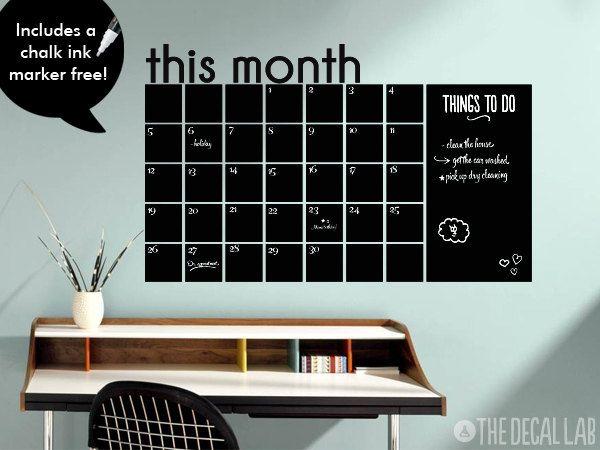 modern chalkboard wall decal monthly calendar freedecallab