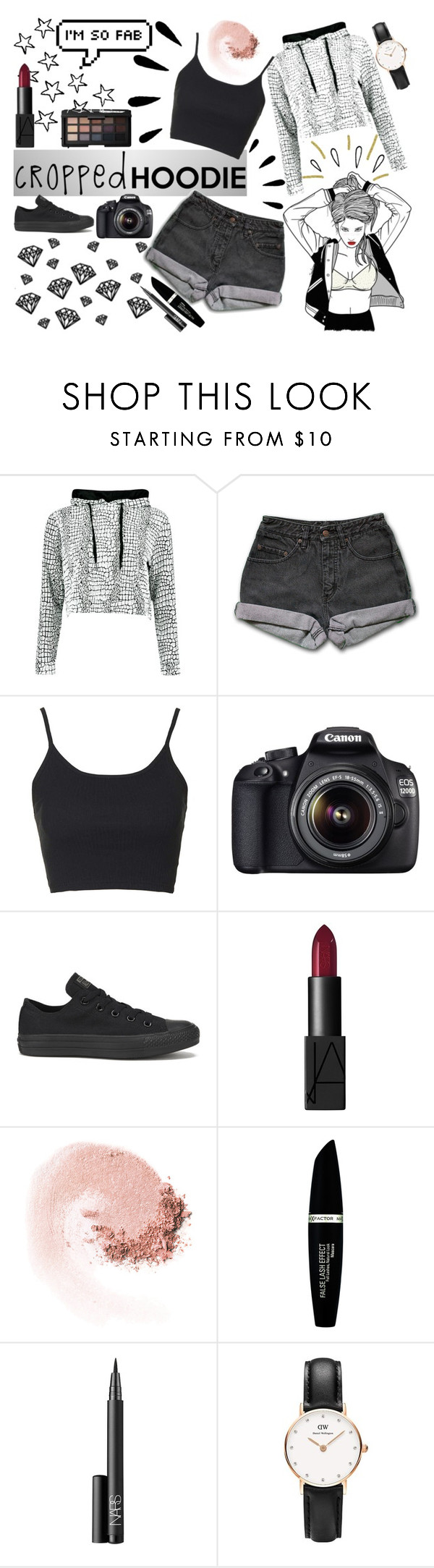 """""""Cropped Hoodie ; Black&White"""" by grierdallas ❤ liked on Polyvore featuring PèPè, Topshop, Old Navy, Canon, Converse, NARS Cosmetics, Max Factor and Daniel Wellington"""