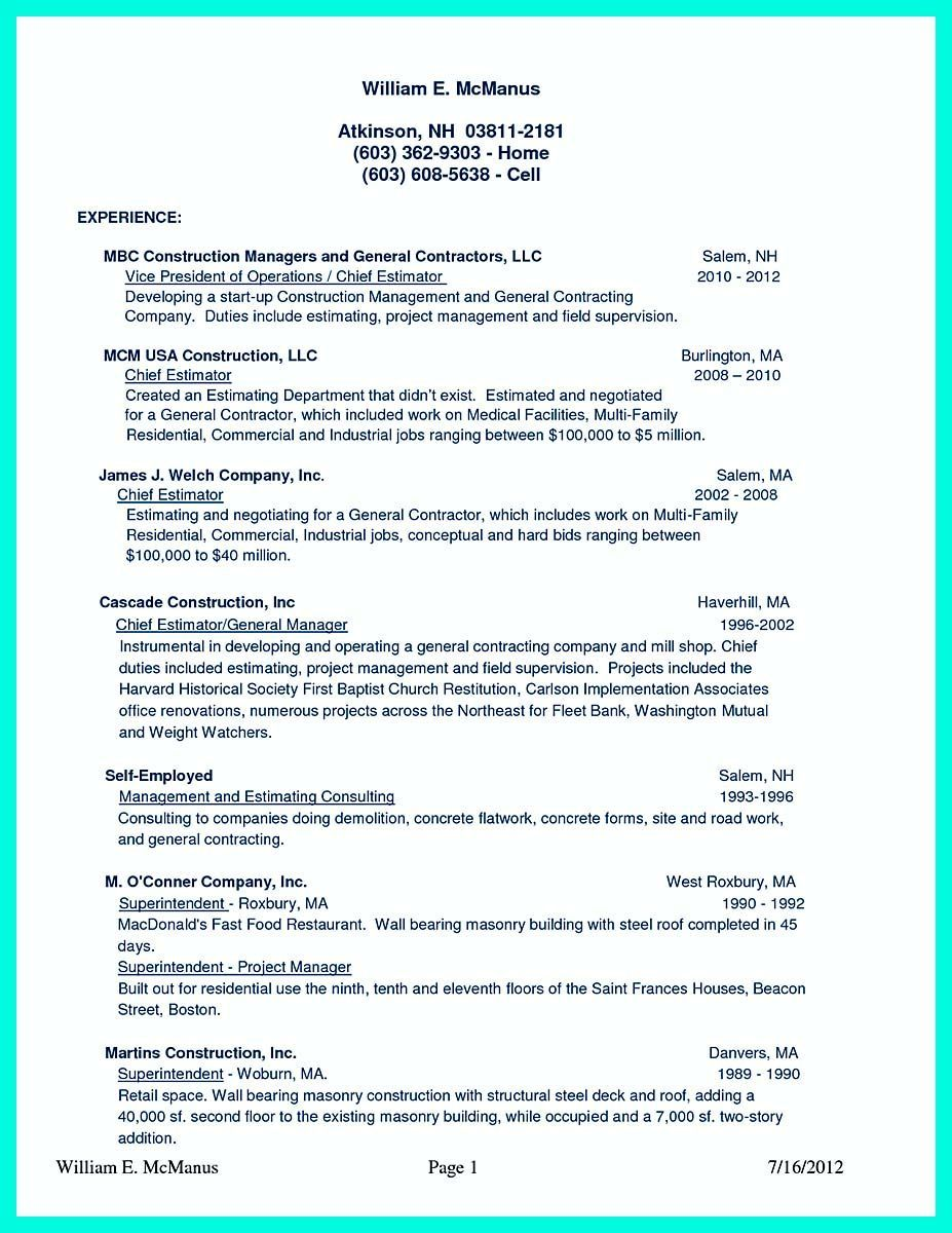 42++ Construction worker resume objective samples Format
