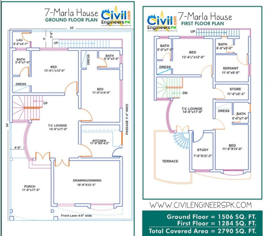 7 Marla House Plans Homes in 2019 House map, 10 marla