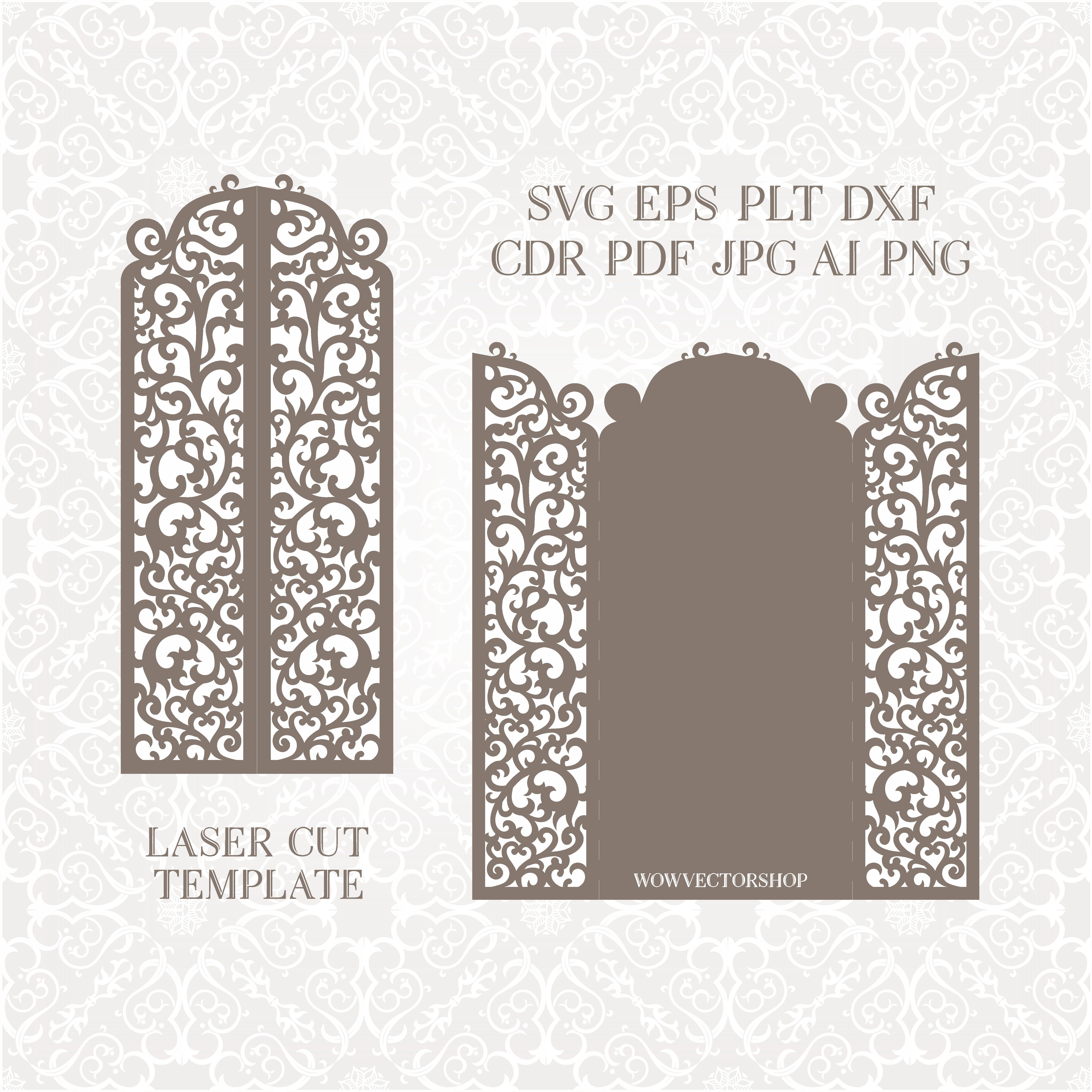 Wedding invitation or greeting card with abstract ornament for Free laser cutter templates