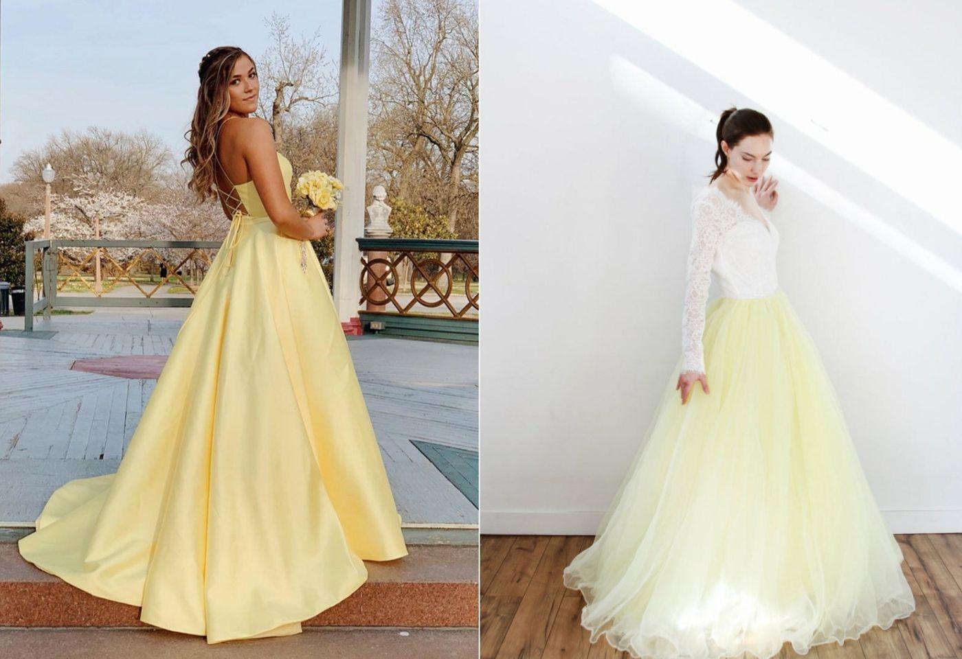 gelb und weiß wedding kleid