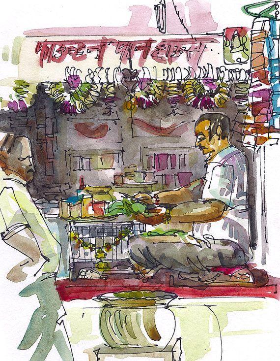 Sketch from India Street Food Vendor Paanwala Mumbai by SketchAway - reddy küchen wien