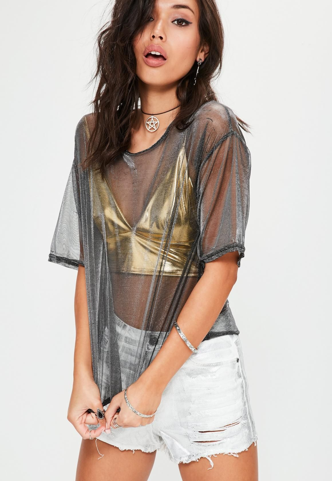 e4416a41c3a987 Missguided - Silver Metallic Double Layer Foil Mesh Top | shopping ...
