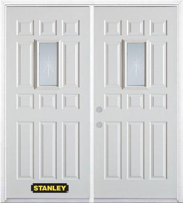 67 Inch X 82 375 Inch Beaujolais Rectangular Lite 12 Panel Prefinished White Right Hand Inswing Steel Prehung Double Door With Astragal And Brickmould Simple Geometric Pattern Double Doors Doors