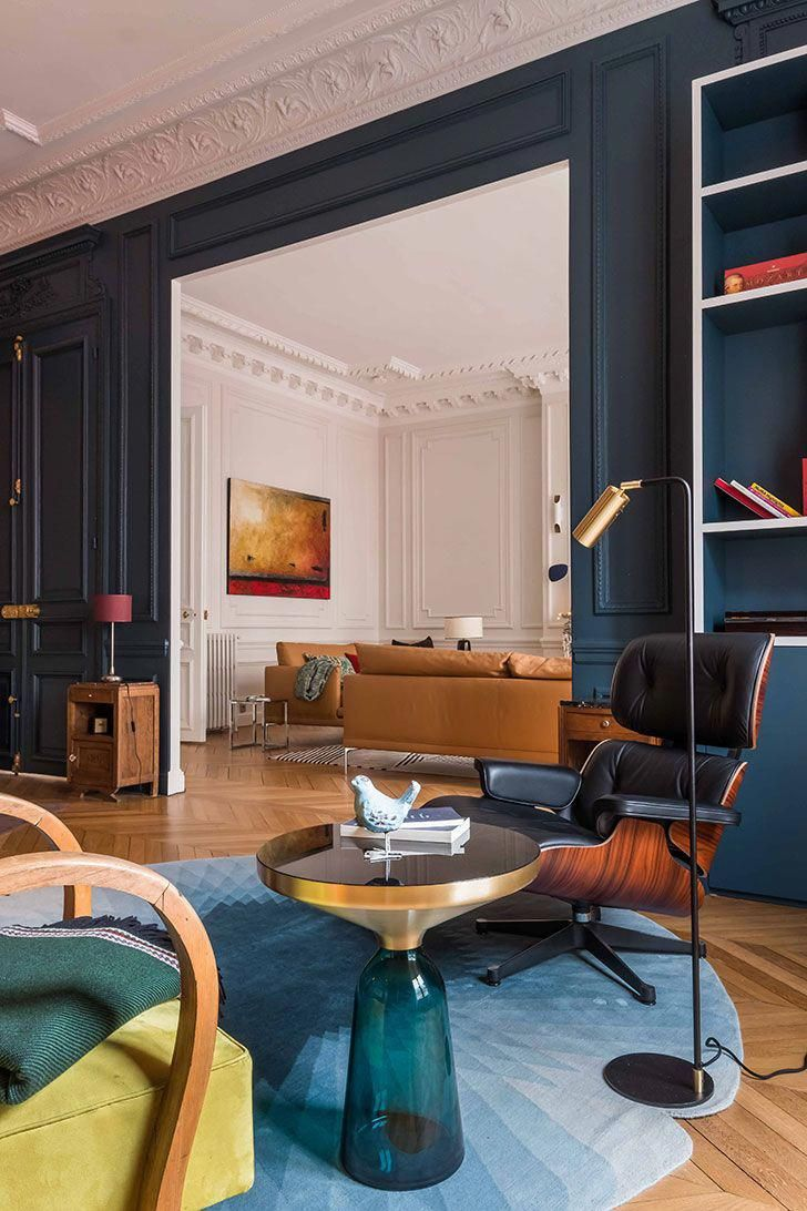 Apartment with stained glass window and unusual wallpapers in paris pufik beautiful interiors online magazine forthehouse also rh pinterest