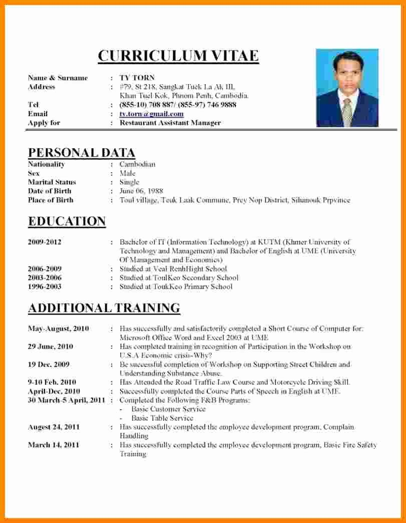 Professional Resume Template Word New 7 Curriculum Vitae Word Cv Format For Job Job Resume Examples Resume Template Word