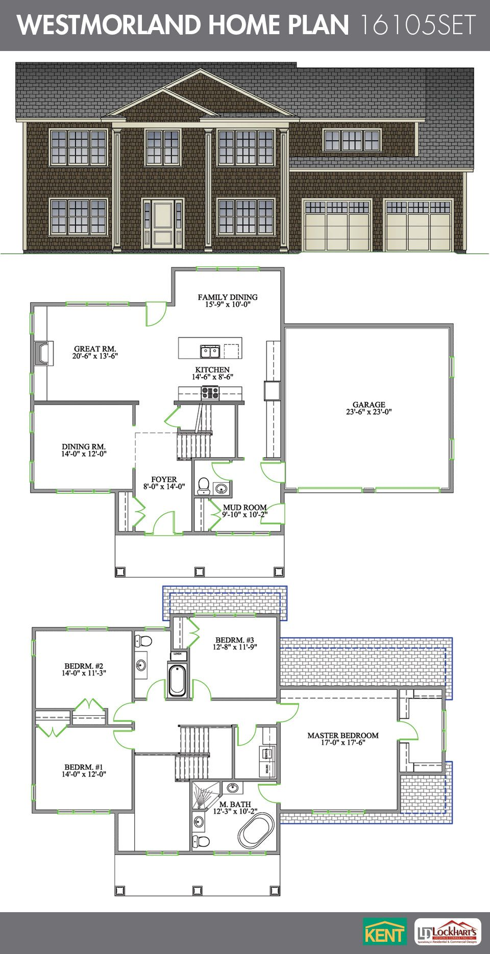 Westmorland 4 bedroom 2 1 2 bathroom home plan features for House plans with big kitchens and hearth rooms