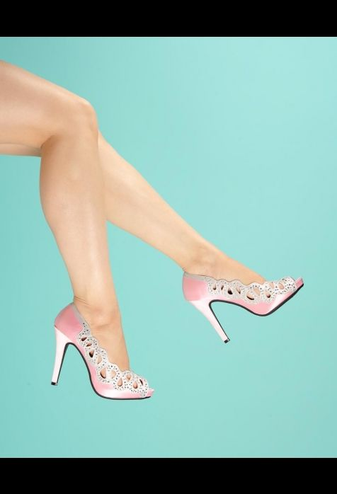 Vintage Style Ava Pump with Rhinestone Cutout in Pink    $58