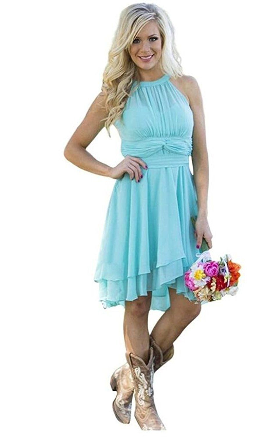 Meledy Women\'s Knee Length Country Bridesmaid Dress Western Wedding ...