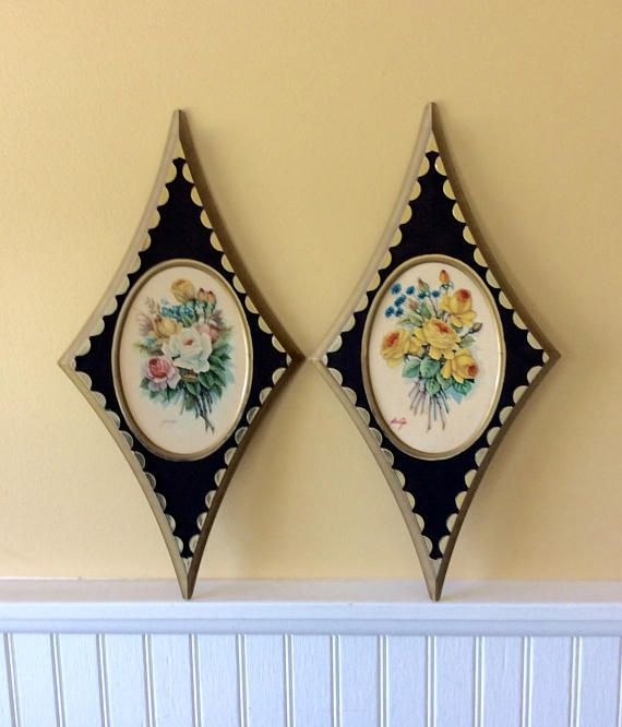 Beautiful set of two floral wall plaques. Ornate diamond shaped ...