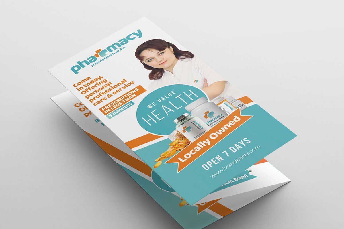 Pharmacy TriFold Brochure Template in 2020 Trifold