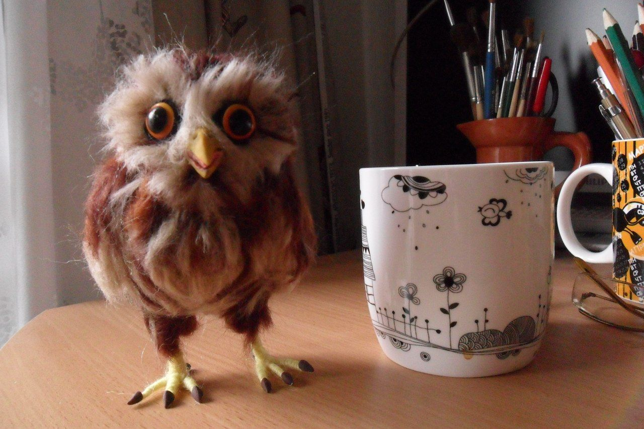 Felted owl by SkojSkoj design studio (https://www.facebook.com/skojskojstudio?fref=nf)