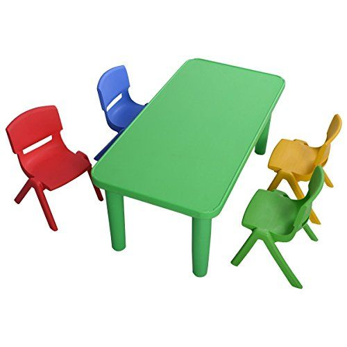 Giantex Kids Plastic Table And 4 Chairs Set Colorful Play School Home Fun Furniture Learn More By Visiting The Image Link