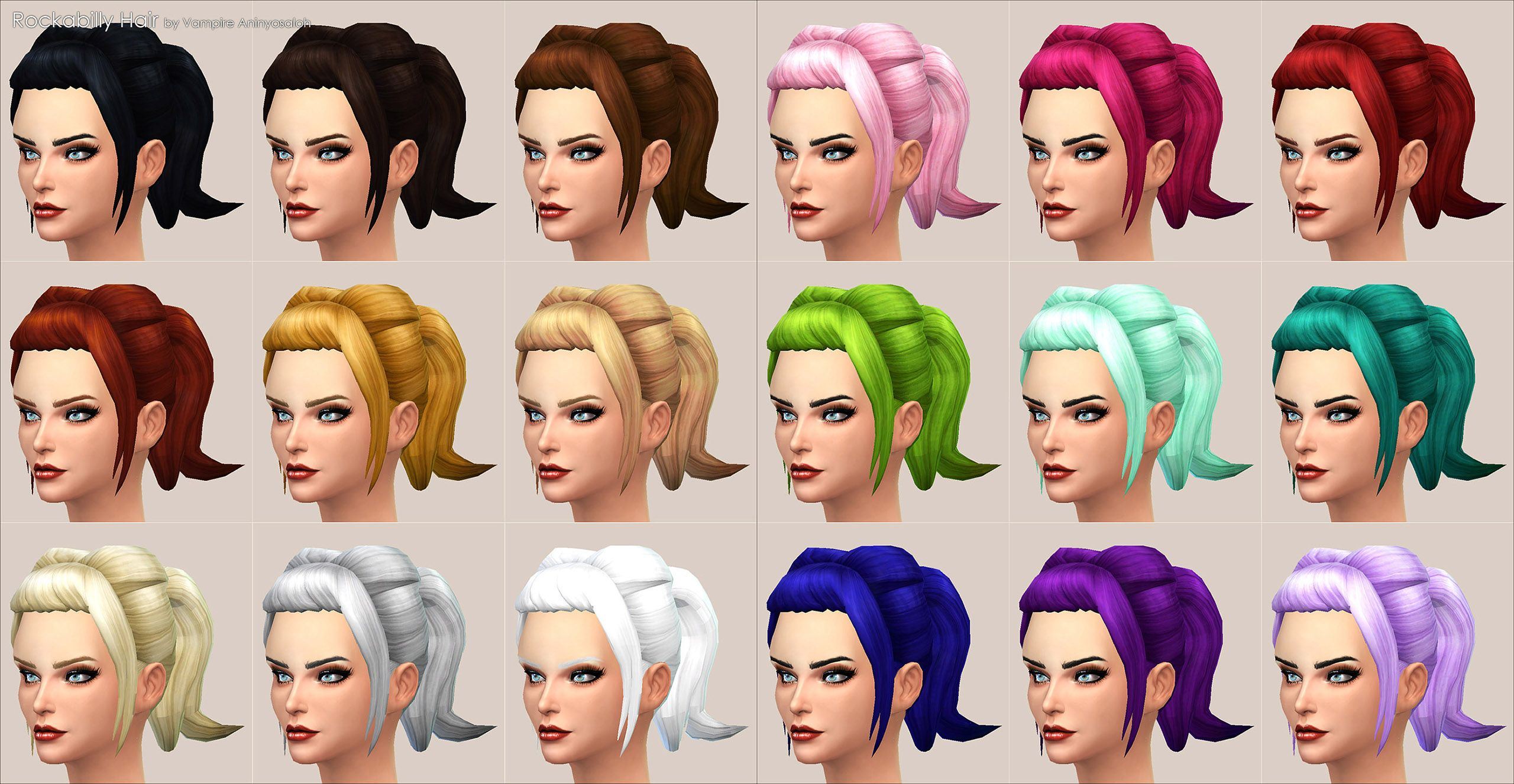 Mod The Sims Rockabilly Hair New Mesh Sims 4 Pinterest