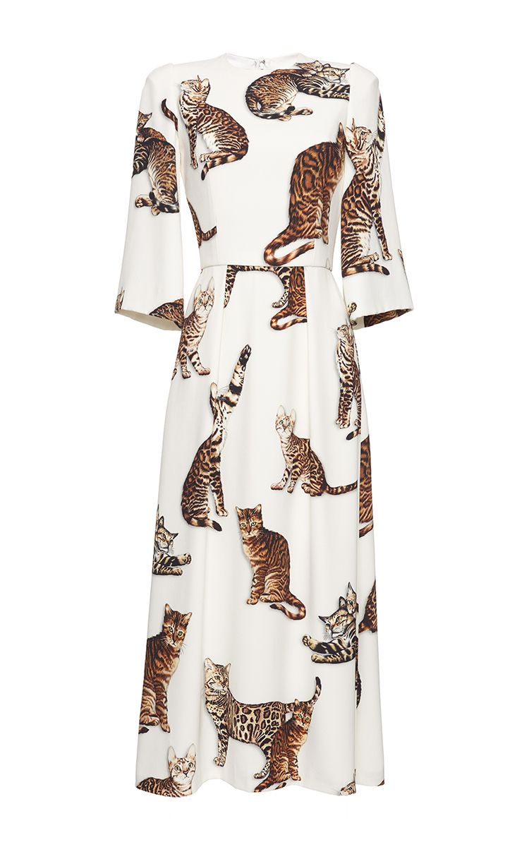 7a8b77af59 DOLCE   GABBANA Bengal Cat Print Midi Dress.  dolcegabbana  cloth  dress