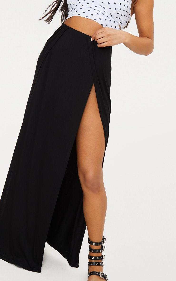 a2c39c0af654c2 Black Double Split Maxi Skirt in 2019 | Pretty Little Things Store ...