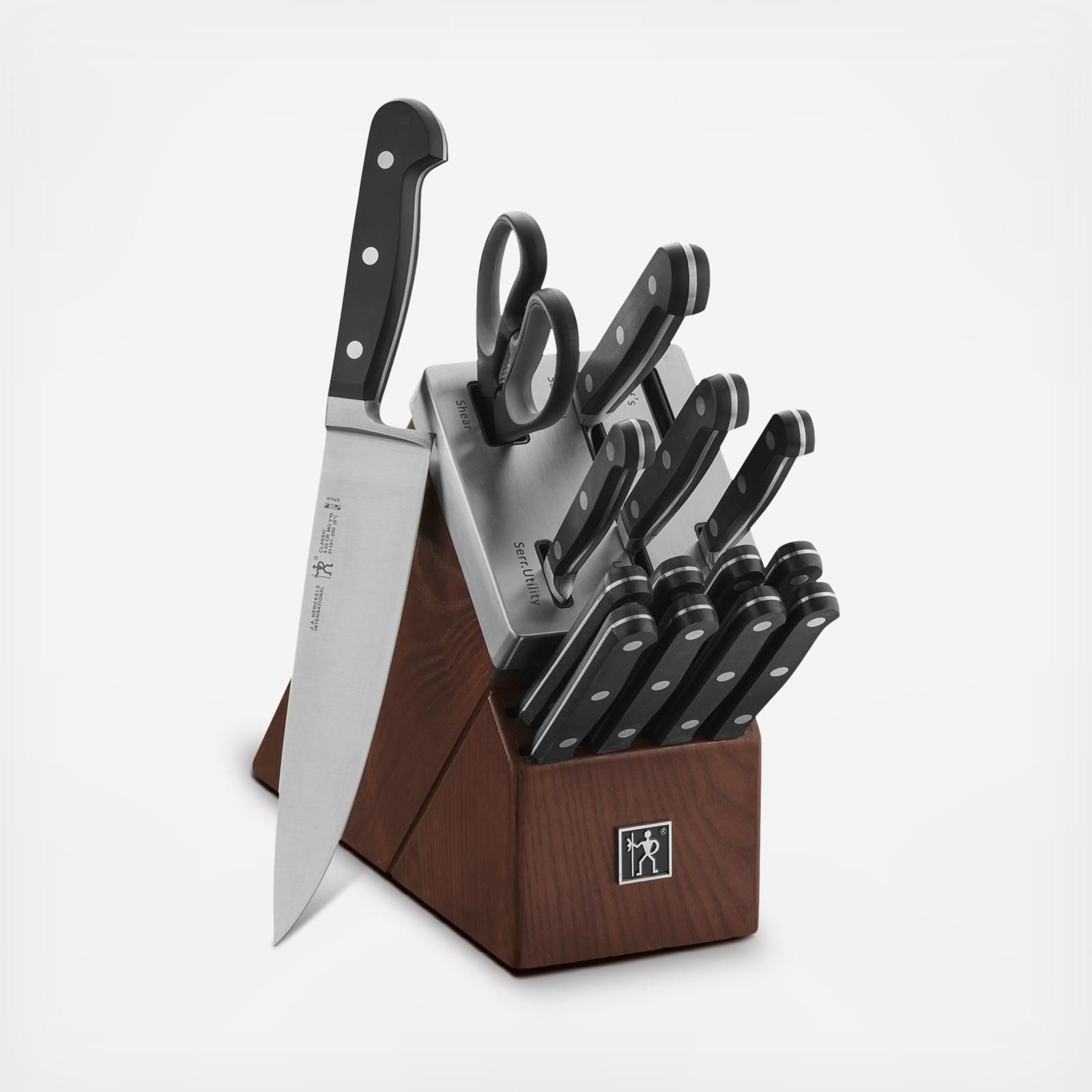 Calphalon Classic 15 Piece Self Sharpening Stainless Steel Cutlery Knife And Block Set With Sharp In Technology 2017942 The Home Depot Knife Block Set Stainless Steel Cutlery Knife Block