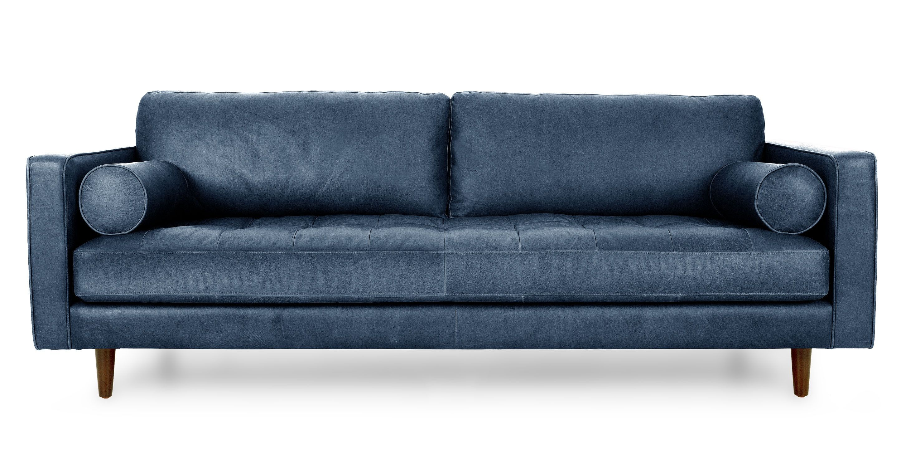 Sven Oxford Blue Sofa Modern Leather Sofa Blue Leather Sofa