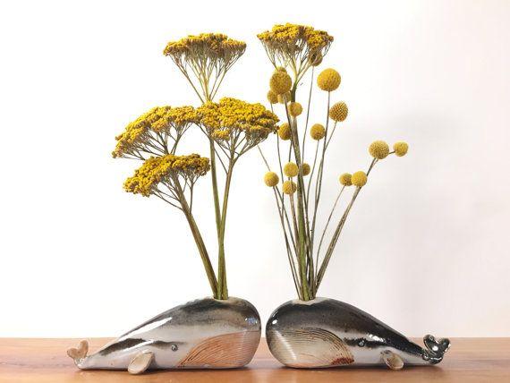 whale vase / bud vase / splotchy grey highlights by studiogiverny