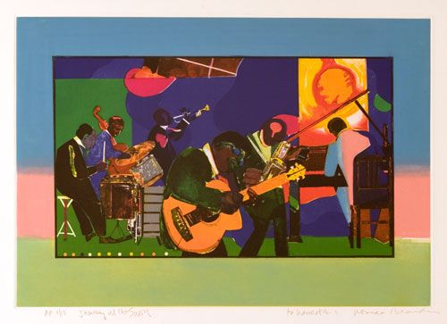 Romare Bearden, American, 1911-1988, Jamming at the Savoy, 1980-81, etching and aquatint, Art © Romare Bearden Foundation/Licensed by VAGA, New York, NY
