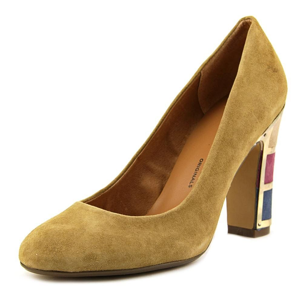 "Nina Original Women's Dashing Dress Pump, B- Camel/Multi, 8 M US. The style name is Dashing. The style number is DASHING-CAM. Brand Color: Camel (Main Color: Beige). Material: Suede. Measurements: 4"" heel. Width: B(M)."