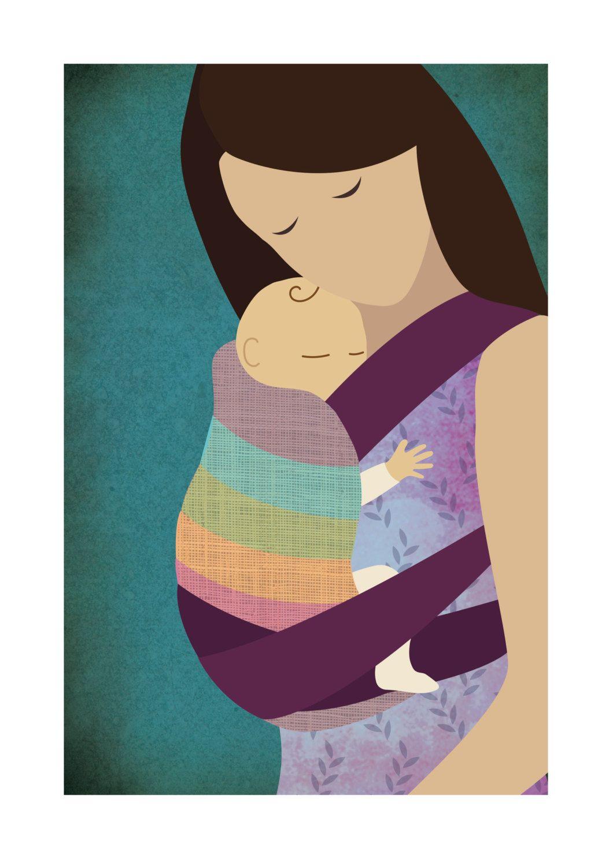 Babywearing Art Print Mei Tai Baby Sling Giclee Art Print Gift - pinned by pin4etsy.com
