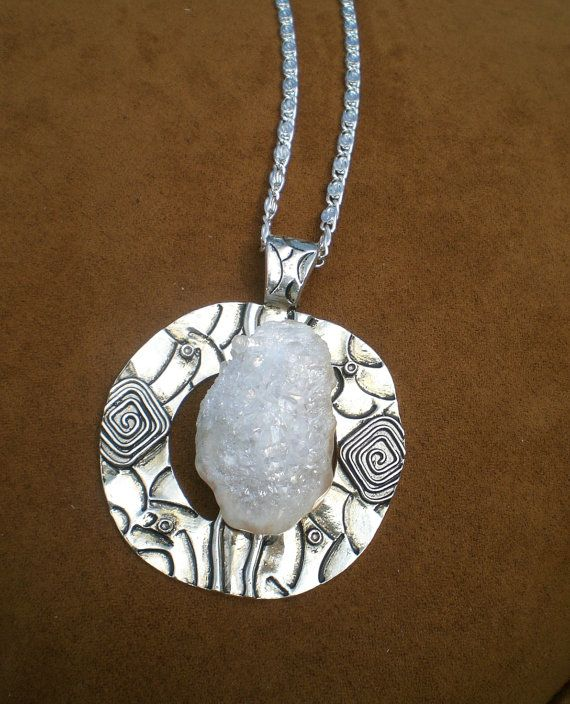 White Drusy Pendant Necklace by JazzyDazzleJewelry on Etsy, $60.00