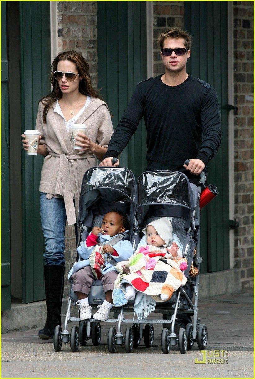 Angelina Jolie, Brad Pitt, Zahara and Shiloh