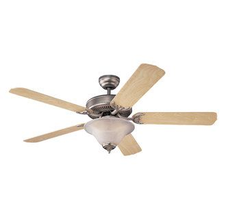 Monte Carlo 5HS52BPD-L Brushed Pewter / White Faux Alabaster (EPACT Compliant) 52 Inch Homeowner's Deluxe Fan